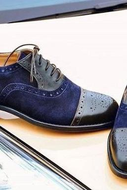 Handmade Men's Black & Navy Color Leather & Suede Shoes, Cap Toe Brogue Dress Fo