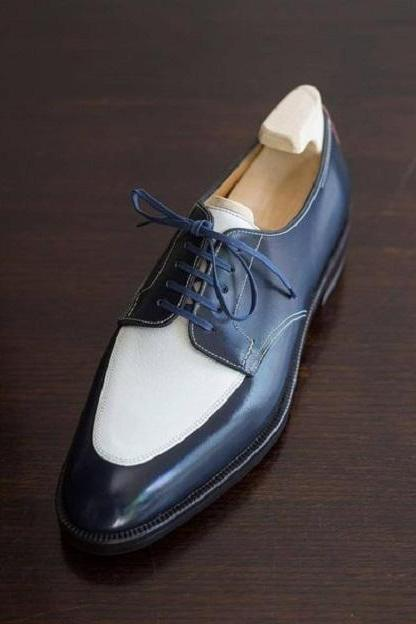 Handmade Two Tone Blue & White Real Leather Lace Up Fine Shoes, 2019