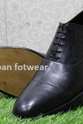 New Mens Handmade Shoes Black Leather Oxford Brogue Cap Toe Formal & Dress Wear