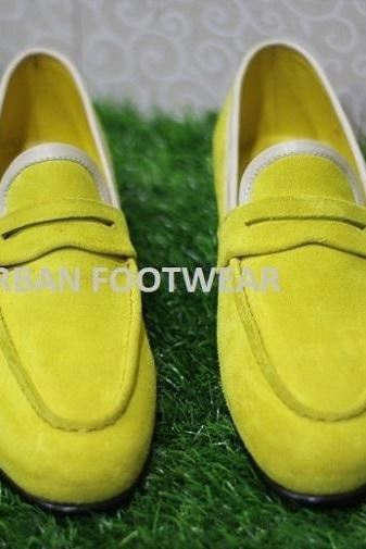 New Mens Formal Shoes Handmade Genuine Yellow Suede Leather Loafers & Slip