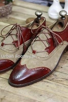 Men's New Handmade Burgundy Leather & Beige Suede Stylish Lace Up Wing Tip Style