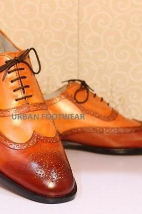 New Men's Handmade Stylish Shoes Tan Brown Leather Lace Up Wing Tip Style Dress